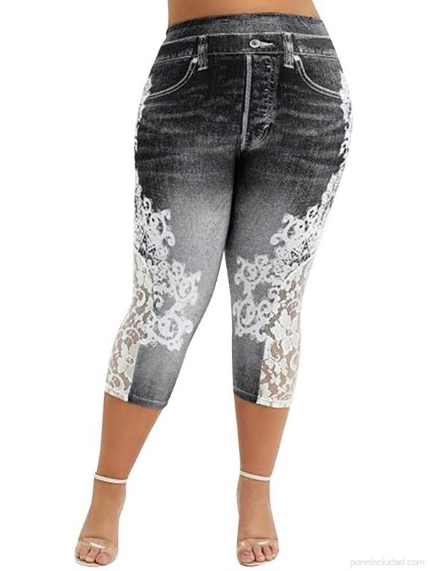 Leggings Mujer Fitness 2021 Venta de Liquidación Mujeres Jeans Moda Encaje Impresión Empalme Cintura EláStica Pantalones Verano Casual Pantalones Largos Tallas Grandes .es Ropa y accesorios