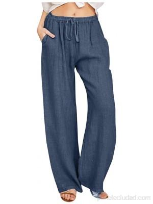 Hunpta Pantalones de verano para mujer de lino holgados para el tiempo libre ligeros de pernera ancha sueltos de lino con bolsillos .es Ropa y accesorios
