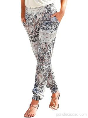 Hunpta Pantalones largos para mujer estilo harén para la playa estilo bohemio informal para verano pierna recta con flores para el tiempo libre .es Ropa y accesorios