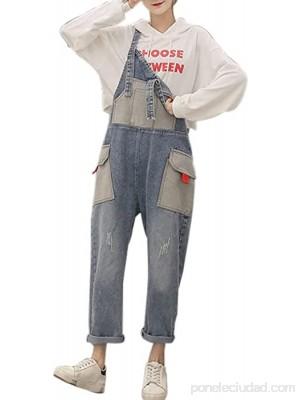 SLATIOM Moda mujer jeans bolsillo empalme mono vaquero tirantes pantalones holgados tirantes pantalones harén primavera otoño overoles de mezclilla Color Light Blue Size S code .es Ropa y accesorios