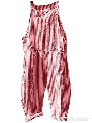 SLATIOM Moda mujer lindo Harajuku monos bolsillo vendaje sin mangas mono raya mono mono mameluco monos sueltos Color Red Size 3XL code .es Ropa y accesorios