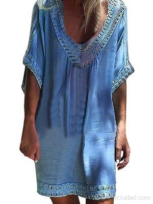 Cover Up Mujer Beachwear  Nuevo SHOBDW Pareos Playa de Verano Casual Color Sólido Tops Blusa Fuera del Hombro Encaje Vestido Suelto Tallas Grandes S-XXL .es Ropa y accesorios