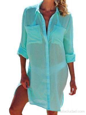 Gasa cubretraje de baño mujer cuello en V sexy blusa bikini Cover Up manga larga talla única para playa piscina playa verano vacaciones 1-blu Talla única .es Ropa y accesorios