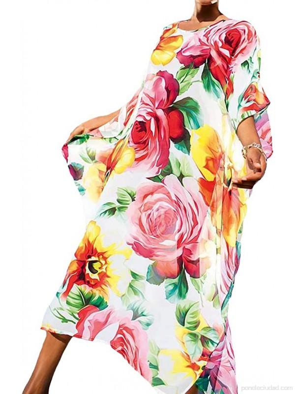 Vestido Largo de Playa Mujer Bohemia Kaftan Maxi Pareo de Algodón Verano Poncho Tuunic Etnico Foral Bikini Cover Up Sarong Traje de Baño Beachwear .es Ropa y accesorios