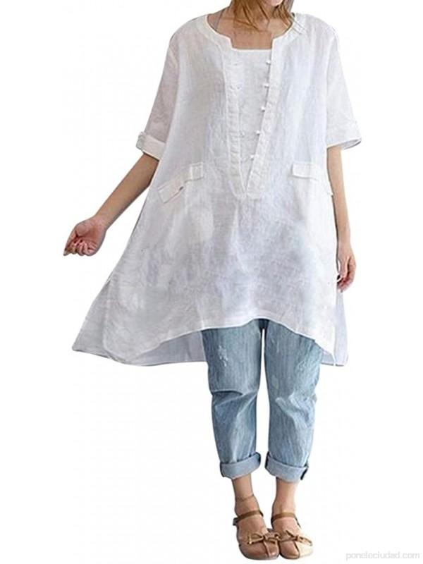 K-Youth Camisa Mujer Talla Grande Suelta Dobladillo Irregular Retro Blusa Blanca Mujer Manga Corta Camisetas de Lino para Mujer Casual Tops T-Shirt .es Ropa y accesorios