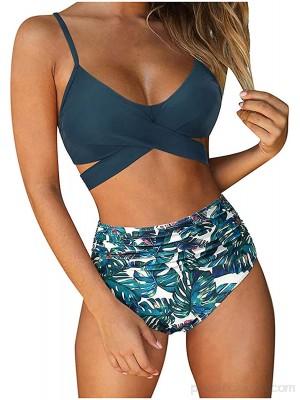 Sanser Bikini para mujer de cintura alta diseño de flores cuello en V vendaje deportivo de dos piezas .es Ropa y accesorios