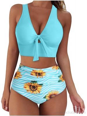 Sanser Bikini para mujer de corte alto bañador de cintura alta sexy cuello en V deportivo dos piezas estampado .es Ropa y accesorios