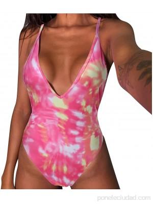 TYTUOO Traje de baño de una pieza de control de barriga traje de baño profundo cuello en V sin espalda traje de baño sólido Lepoard trajes de baño de cintura alta monokinis .es Ropa y accesorios