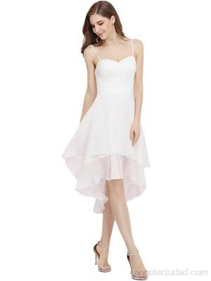 Ever-Pretty Vestido de Novia Alto Bajo de Tirante Gasa Encaje Vestidos de Cóctel para Mujer 00390 .es Ropa y accesorios