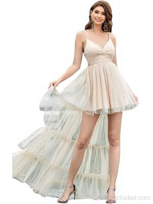 Ever-Pretty Vestidos de Cóctel Asimétrico Corto para Mujer Escote en V Sin Mangas de Tirante con Lentejuelas 0158 .es Ropa y accesorios