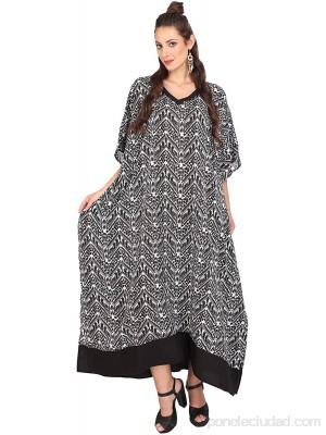 Miss Lavish London Mujer Kaftan Túnico Kimono Estilo Más tamaño Maxi para Loungewear Vacaciones Ropa de Dormir & Cada día Vestidos [119 Negro] .es Ropa y accesorios