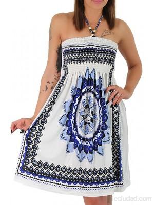Vestido de verano para mujer con perlas de madera para la playa vestido de paño estilo azteca F-023 azul. 36-40 .es Ropa y accesorios