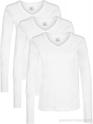 Berydale Camiseta de manga larga de mujer con cuello de pico lote de 3 en varios colores Ropa y accesorios