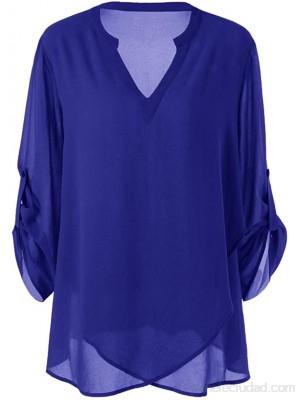 FAMILIZO Camisetas Mujer Verano Blusa Elegante Fiesta Sin Hombros Tallas Grandes Camisas Moda Mujer Plus Tamaño V-Cuello Ajustable Manga Gasa Sólido Blusa Top Camisa Ropa y accesorios