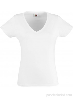 Fruit of the Loom Valueweight V-Neck T Lady-fit Camiseta para Mujer Ropa y accesorios