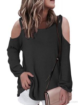 YOINS Camiseta de manga larga con hombros descubiertos para mujer sexy holgada para invierno de manga larga holgada para otoño informal Negro XXL .es Ropa y accesorios