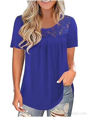 Camiseta de encaje elegante para mujer de encaje sólida de manga corta .es Ropa y accesorios