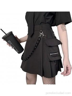 FREEPPCC Falda gótica negra punk irregular de cintura alta falda plisada de línea A para adolescente con cadena de cintura desmontable y bolsillo con cremallera .es Ropa y accesorios