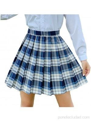 HEling Falda de Cuadros Falda Plisada Coreana Básica Falda Escolar Tartán Falda Plisada de la Cintura Alta Falda Mini Corta Elástica para Mujeres y Niñas .es Ropa y accesorios