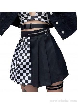 soweilan Mini falda de cuadros negro Punk mujer cintura alta plisada a cuadros faldas escuela gótica falda blanca .es Ropa y accesorios