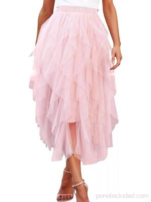 Spec4Y Falda de tul para mujer corte A falda larga gasa cintura elástica enaguas monocromáticas .es Ropa y accesorios