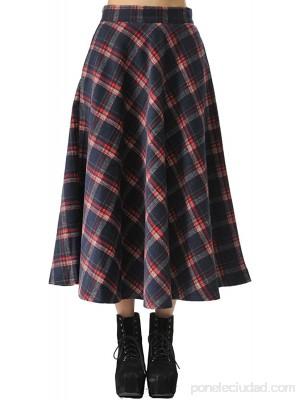 TEERFU Falda de cintura alta para mujer estilo vintage plisada una línea acampanada patinador longitud a la rodilla vestido midi con bolsillos .es Ropa y accesorios
